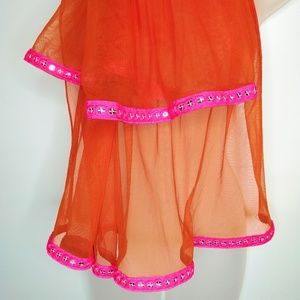 Chiffon Large Scarf Orange Hot Pink Ethnic Boho
